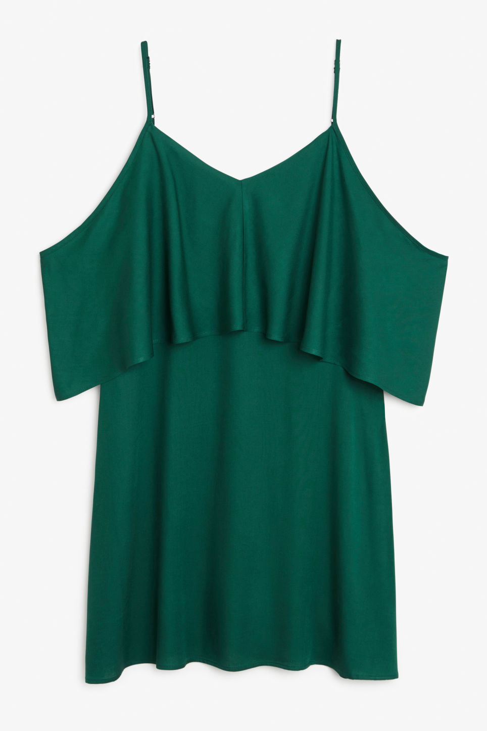 Front image of Monki cold shoulder ruffle dress in green