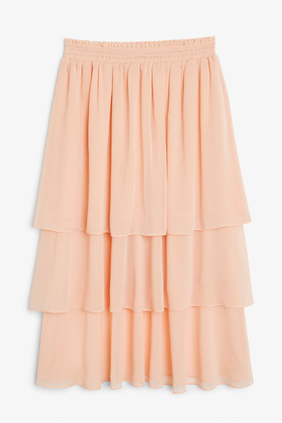 Front image of Monki ruffle layered midi skirt in pink