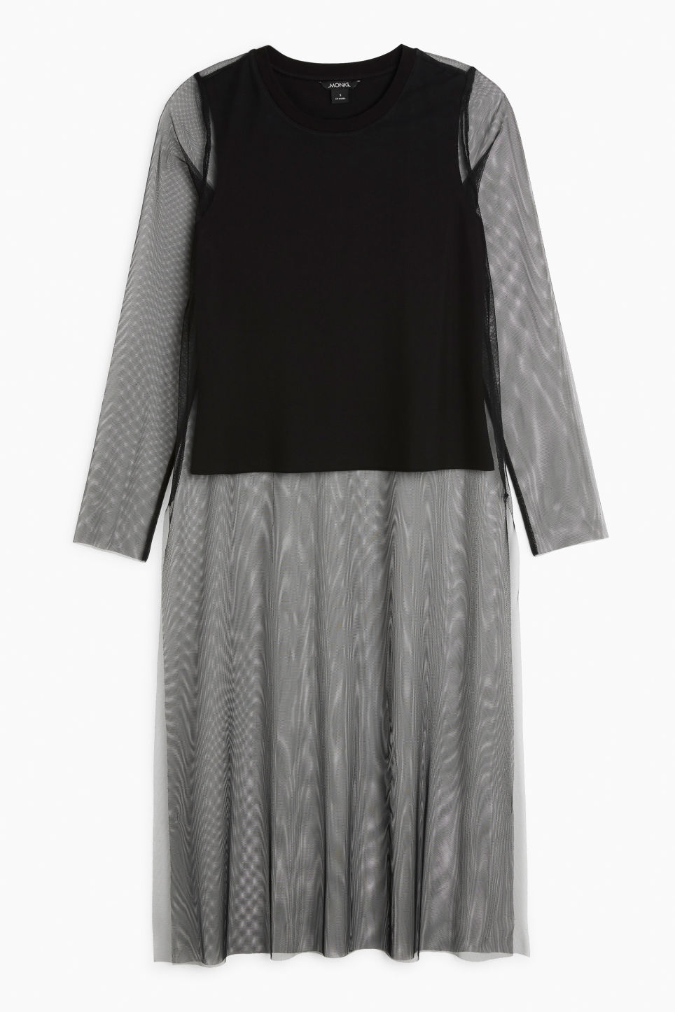 Front image of Monki half lined mesh top in black