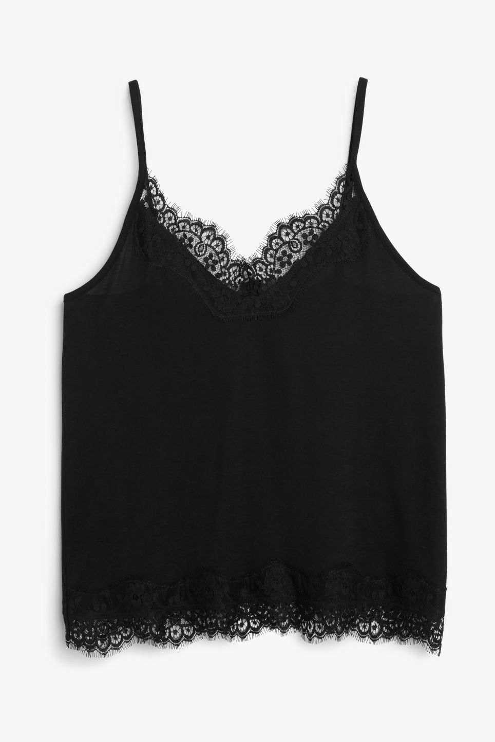 Front image of Monki lace singlet in black