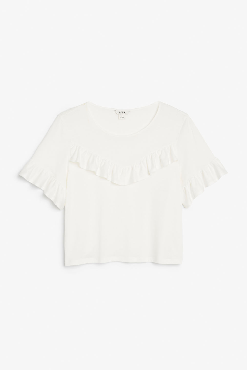 Front image of Monki ruffle tee in white