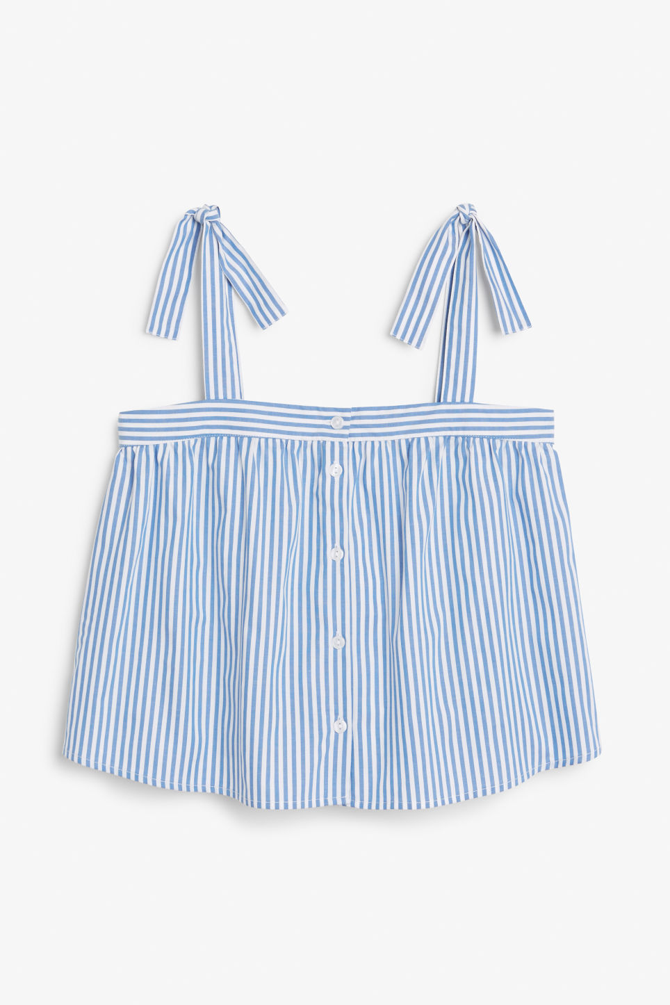 Front image of Monki tie strap blouse in blue