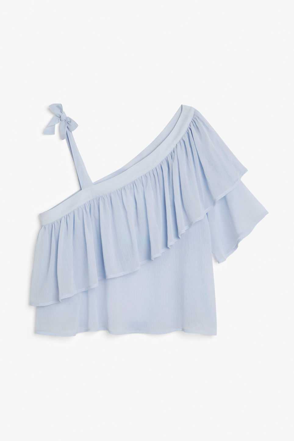 Front image of Monki asymmetric ruffle shoulder top in blue