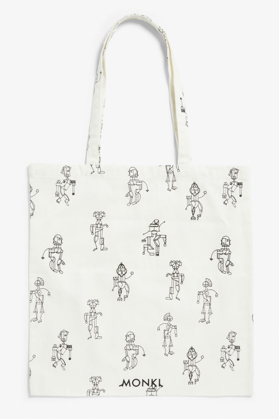 Front image of Monki tote bag in white