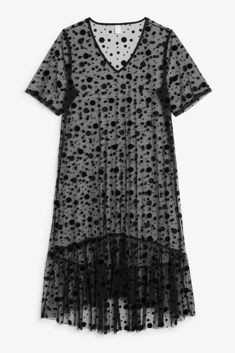 Front image of Monki long sheer ruffle dress in black
