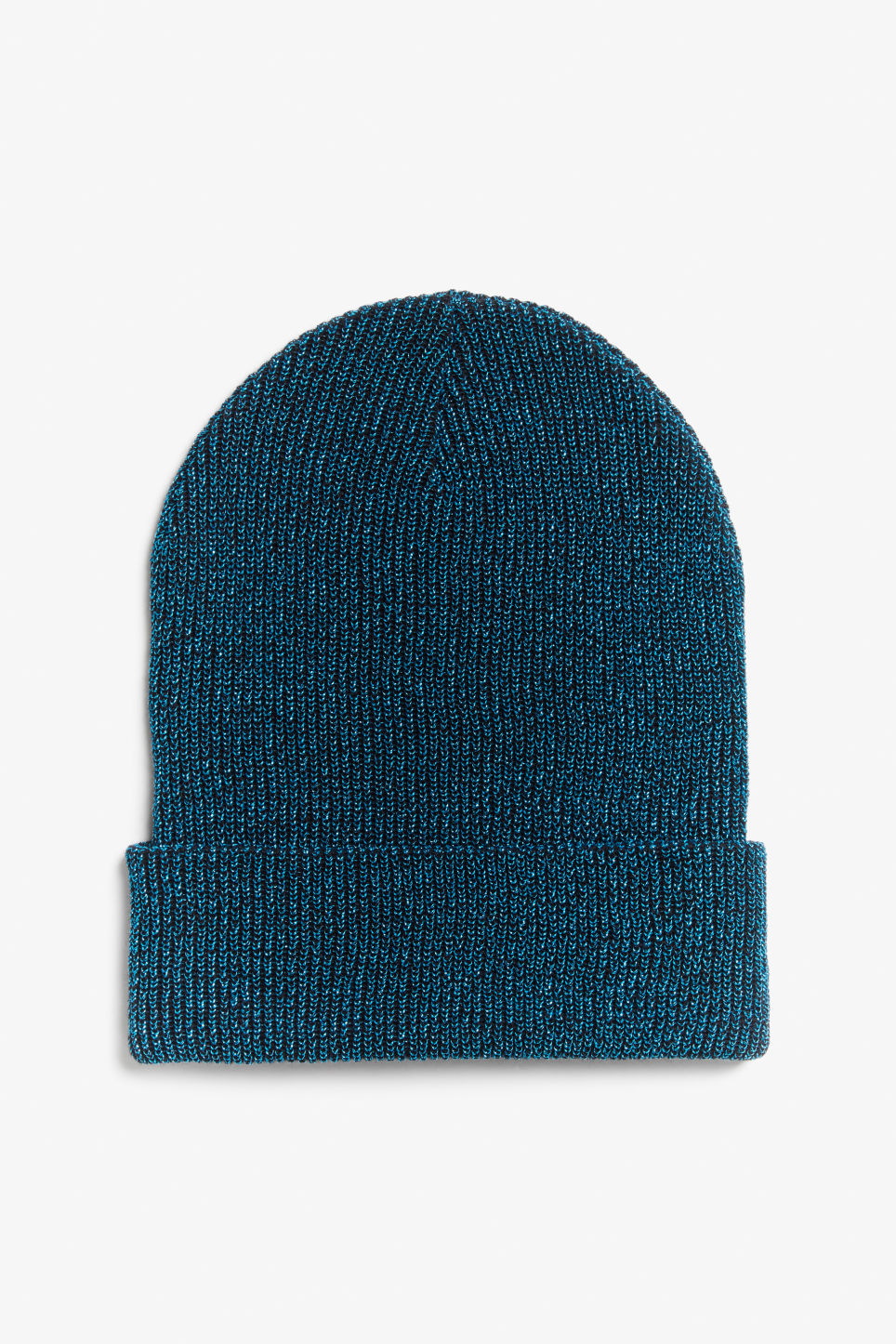 Front image of Monki sparkle beanie in turquoise