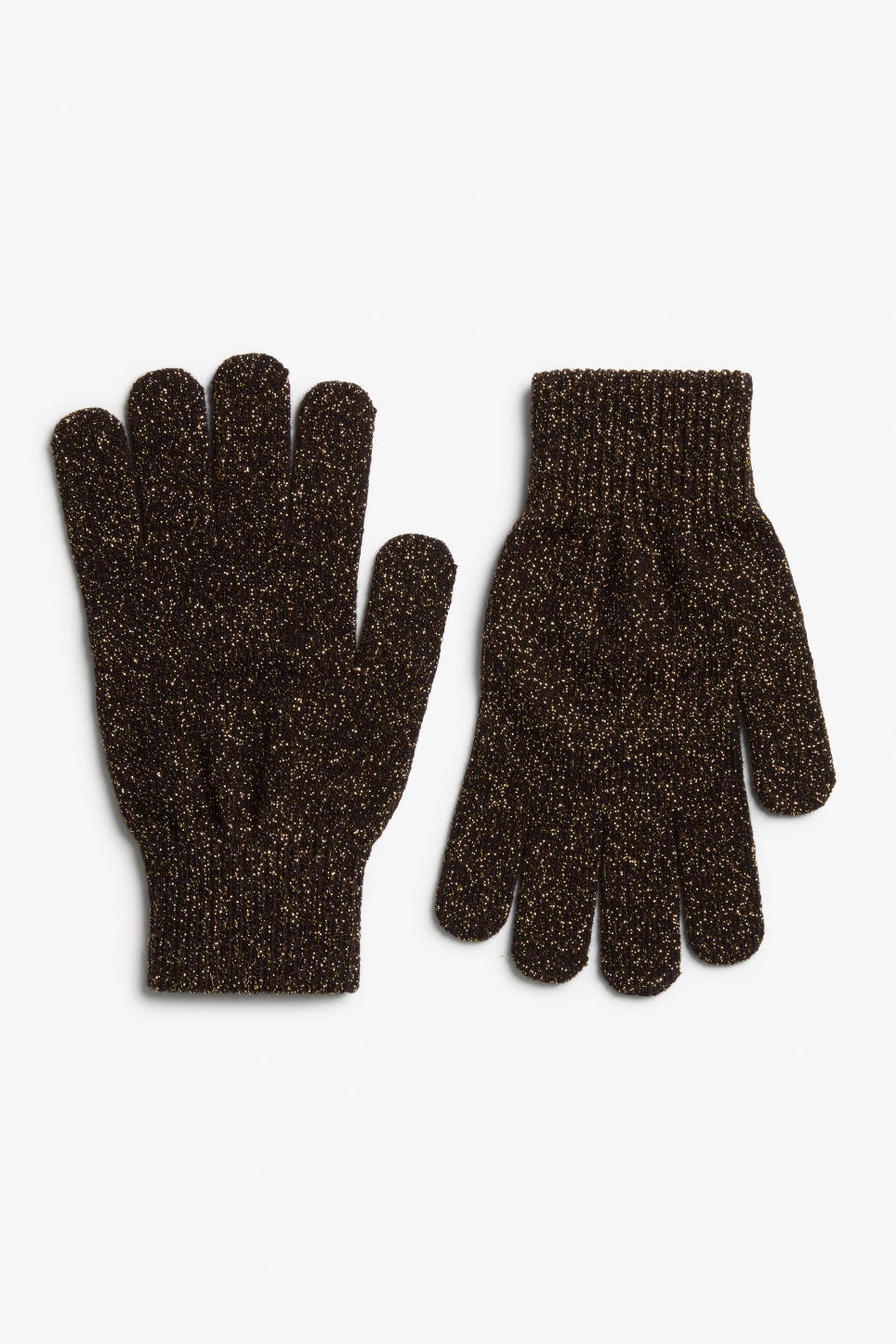 Front image of Monki lurex knit gloves in gold