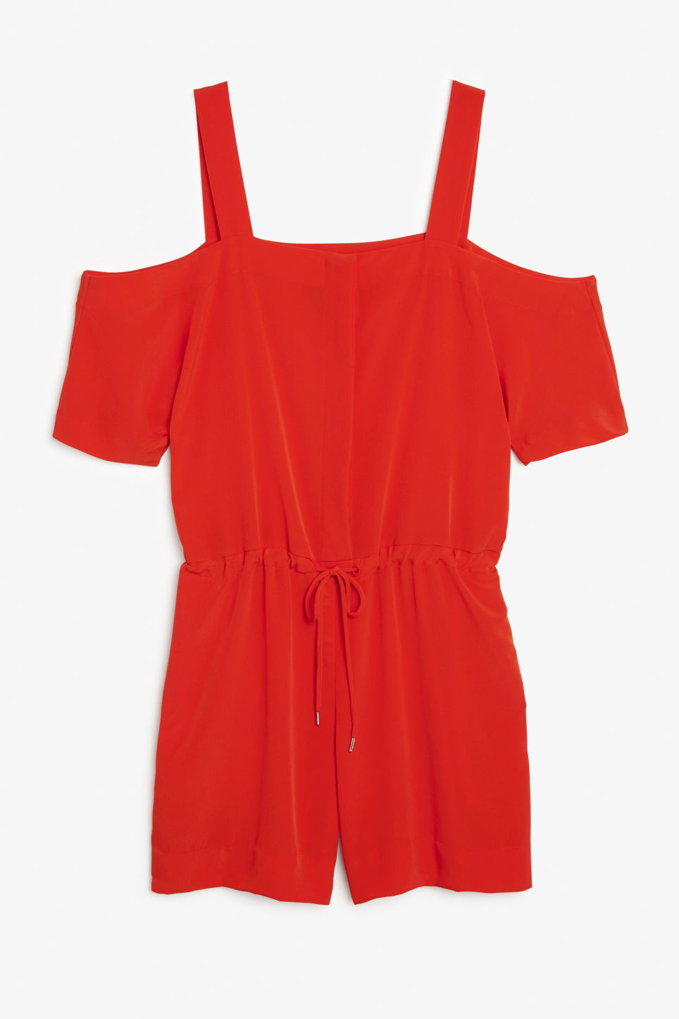 Front image of Monki cold shoulder playsuit in red