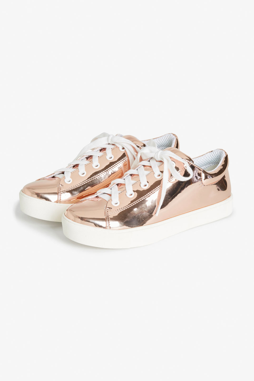 Front image of Monki metallic sneakers in gold