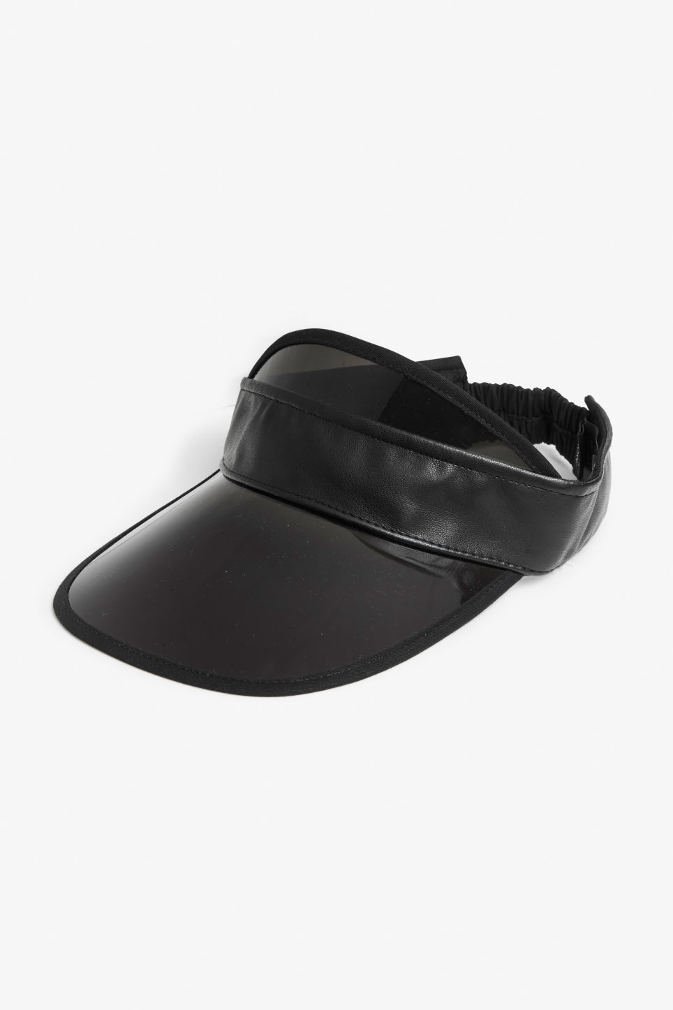 Front image of Monki black visor in black