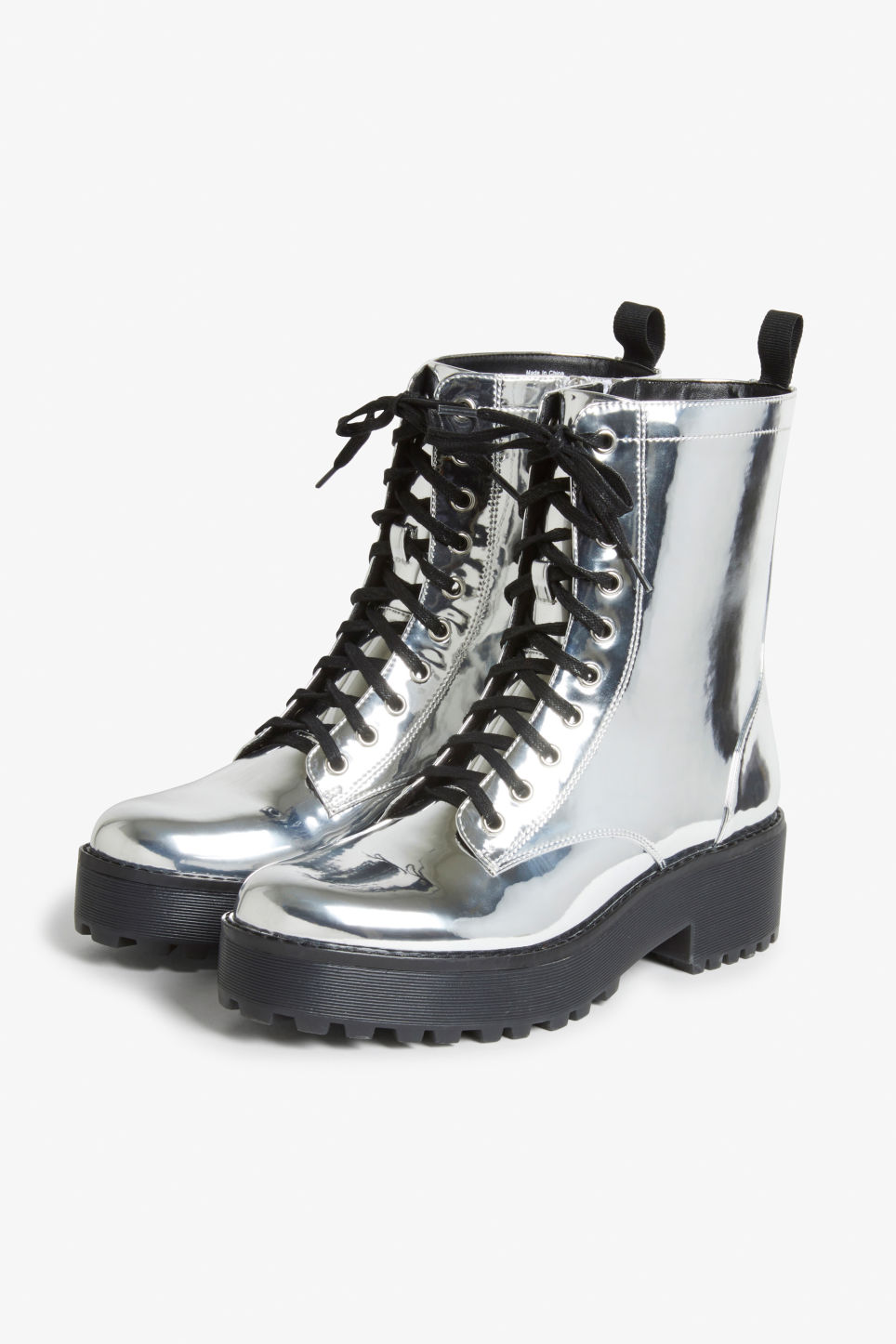 Front image of Monki chunky combat boots in silver