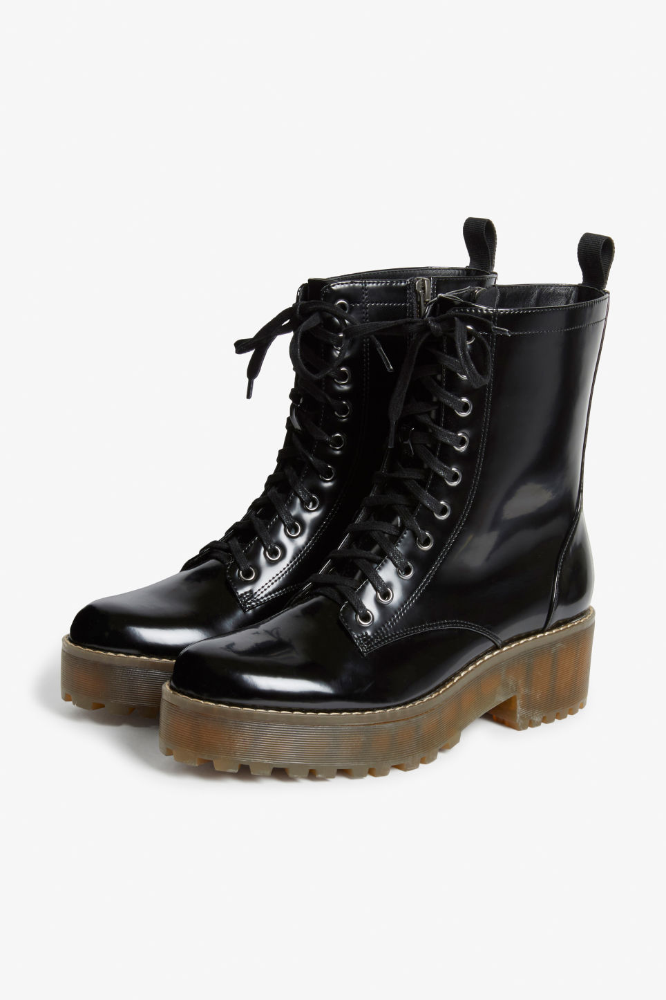 Front image of Monki chunky combat boots in black