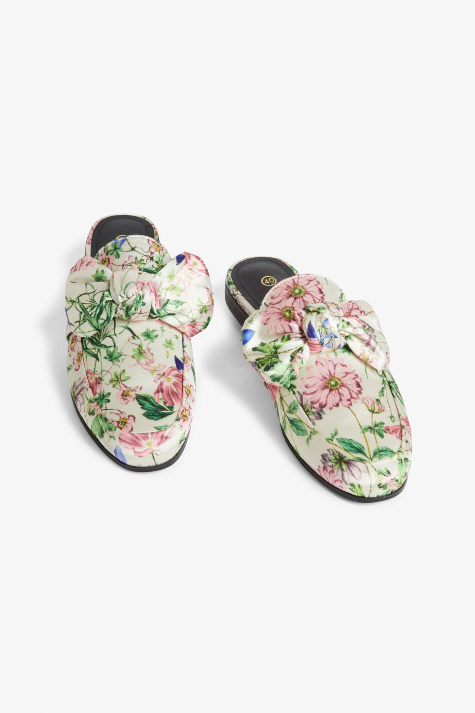 Front image of Monki loafer mules in white