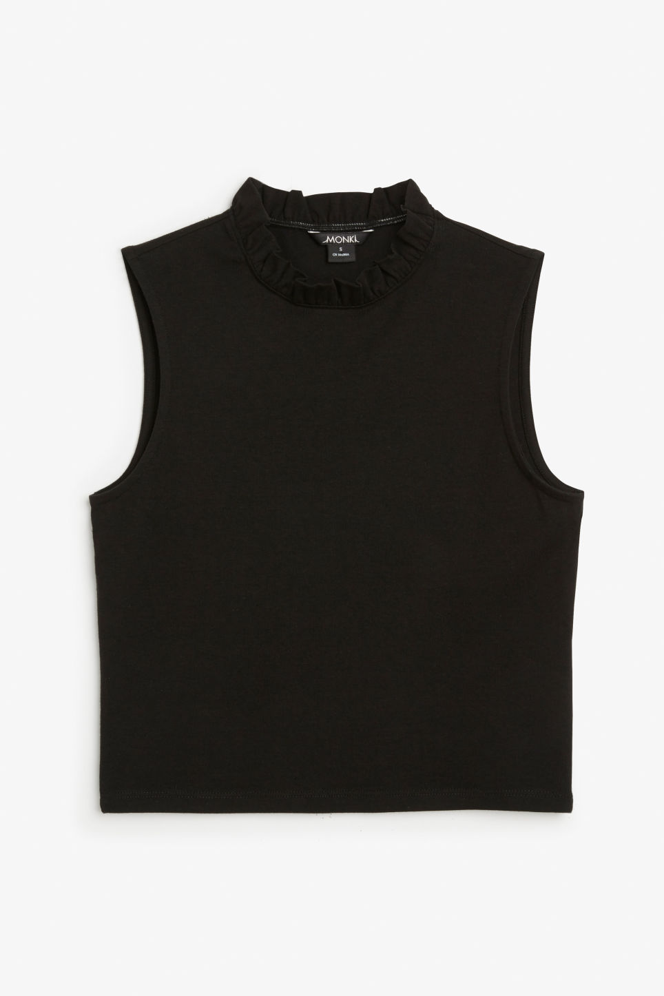 Front image of Monki ruffle neck cropped top in black