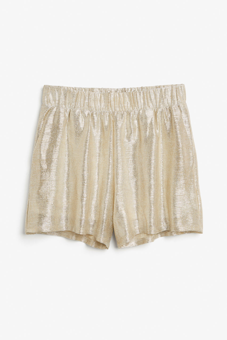 Front image of Monki party shorts in silver