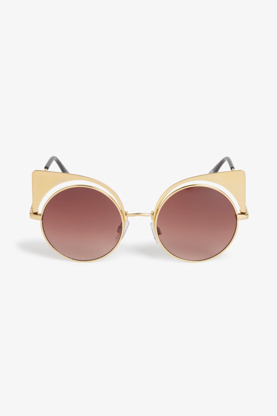 Front image of Monki cat/rimless sunglasses in gold