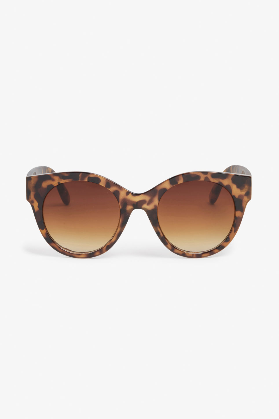 Front image of Monki cat eye sunglasses in brown