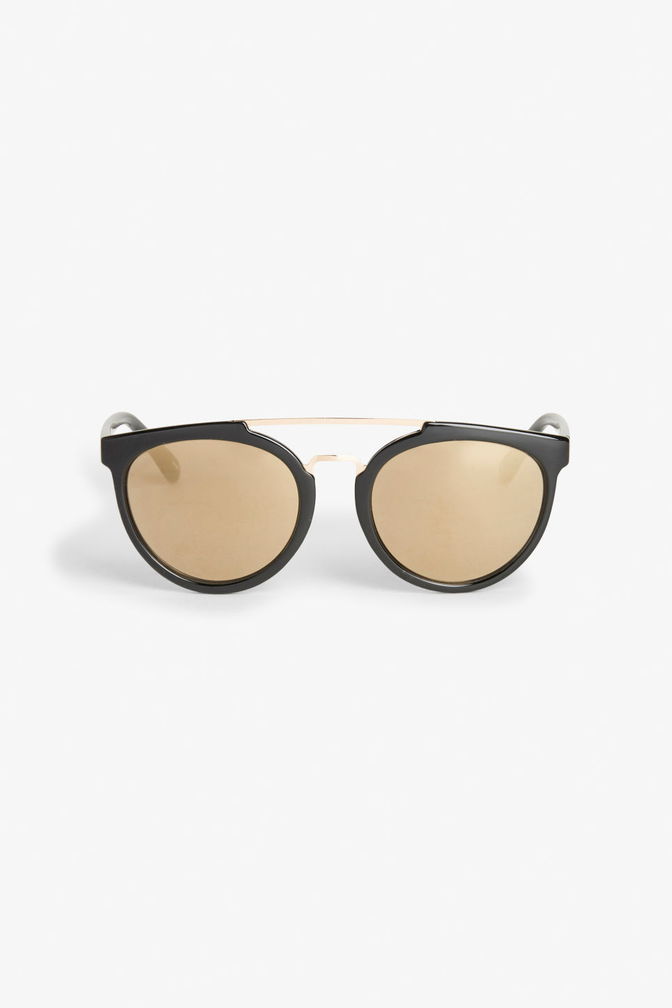 Front image of Monki metal bar sunglasses in black