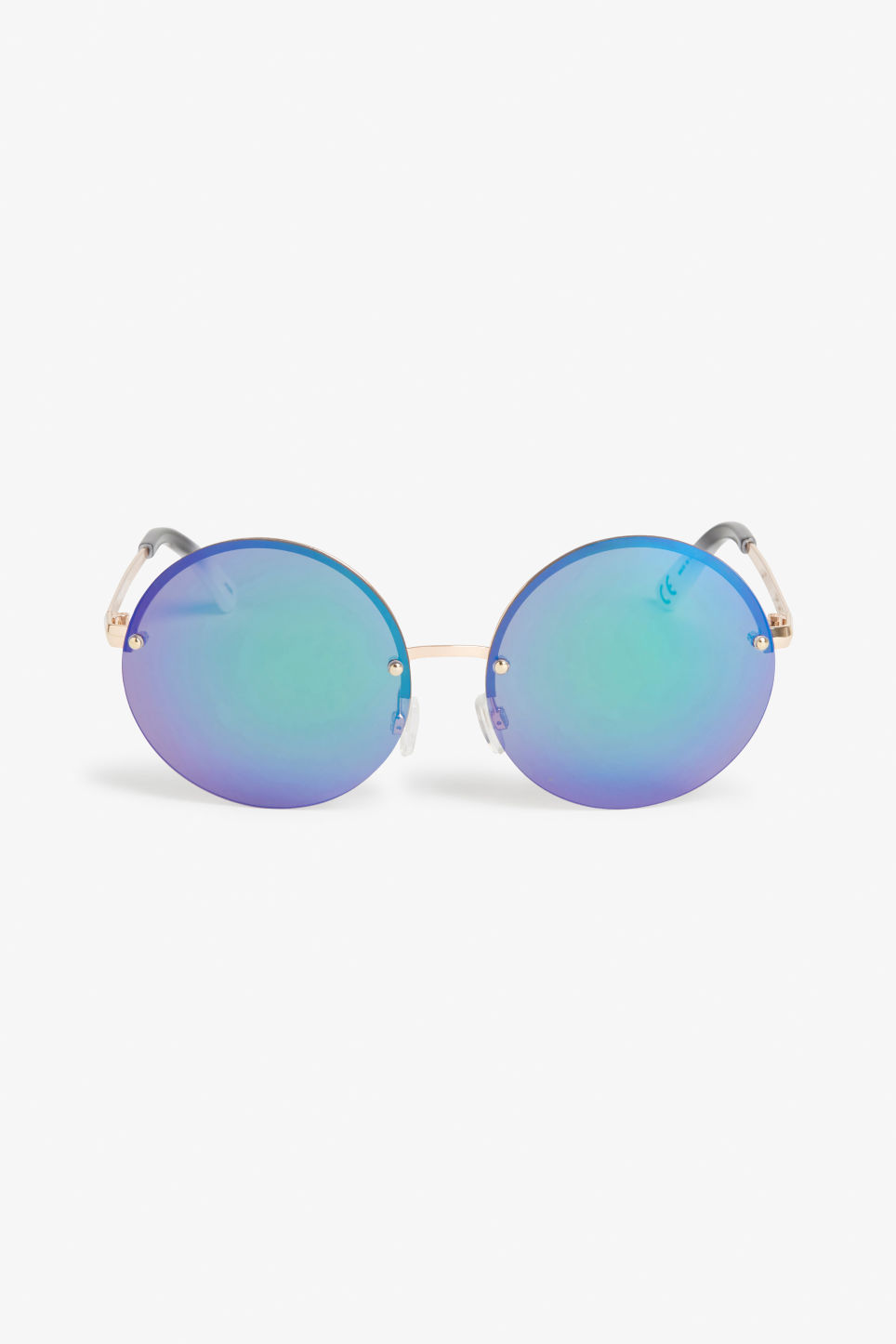 Front image of Monki 70s retro sunglasses in blue