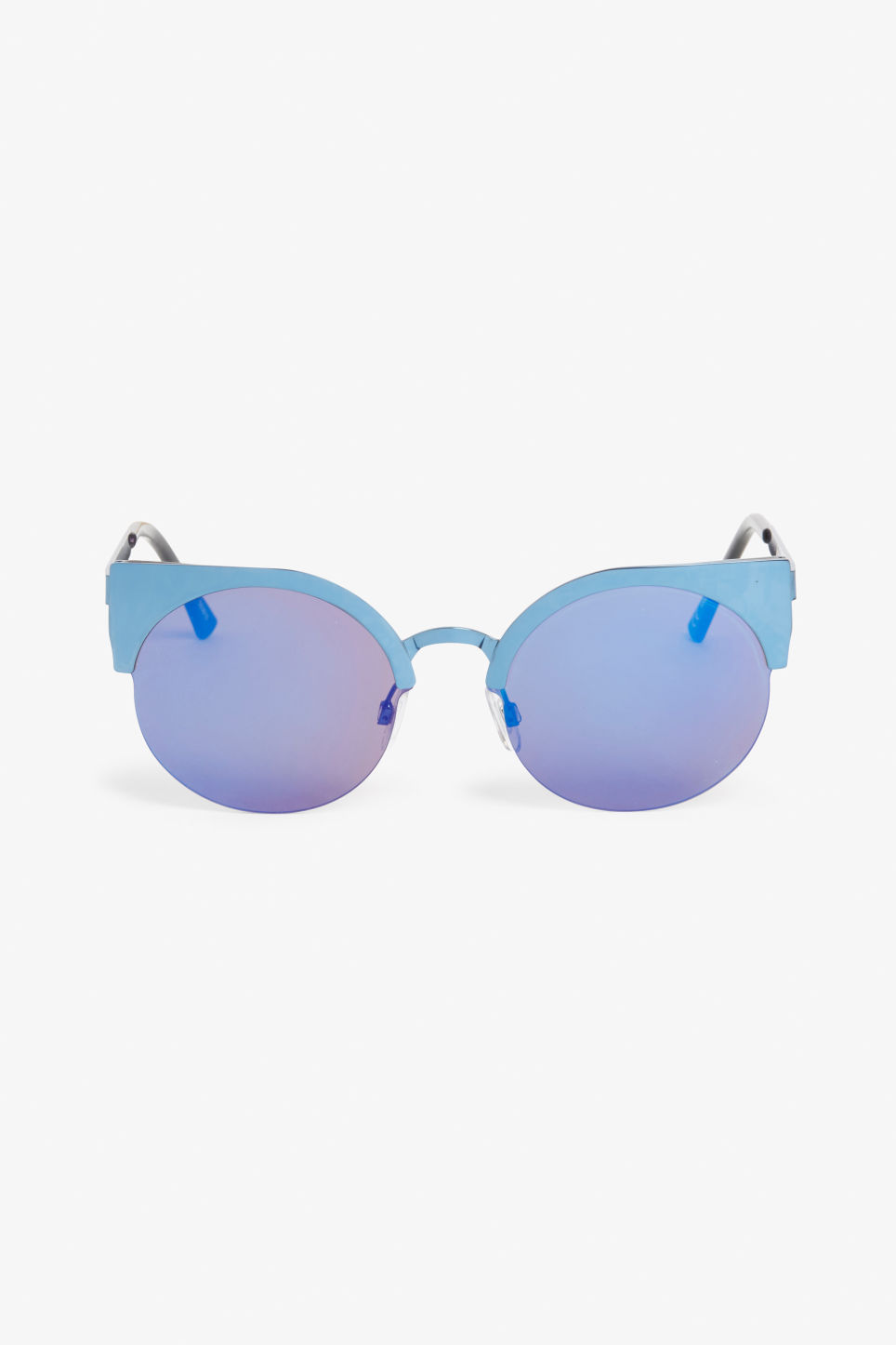Front image of Monki cat eye sunglasses in blue