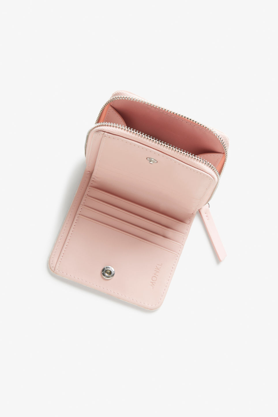 Side image of Monki coin purse wallet in pink