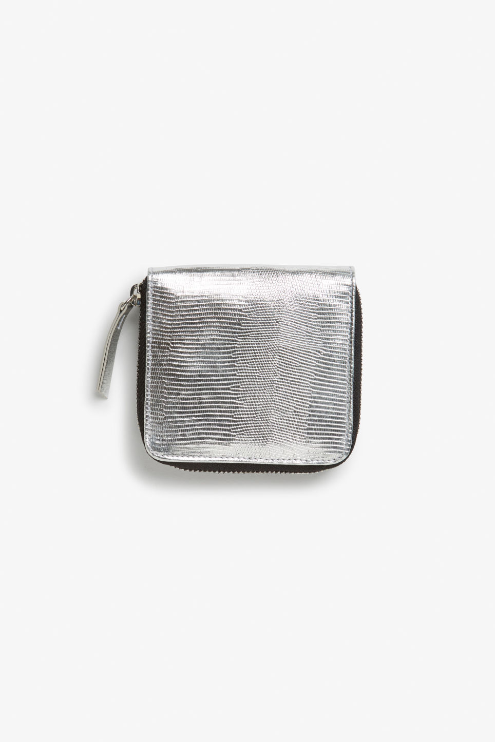 Front image of Monki coin purse wallet in silver