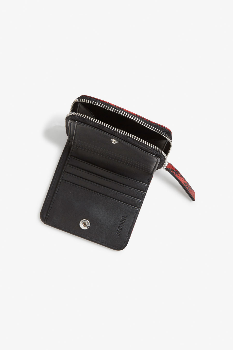 Side image of Monki coin purse wallet in red