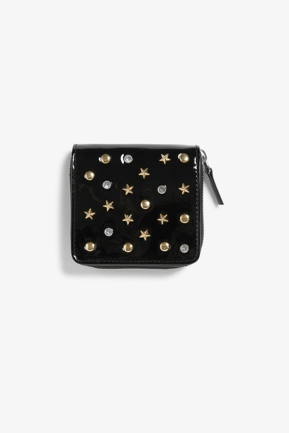 Front image of Monki coin purse wallet in gold