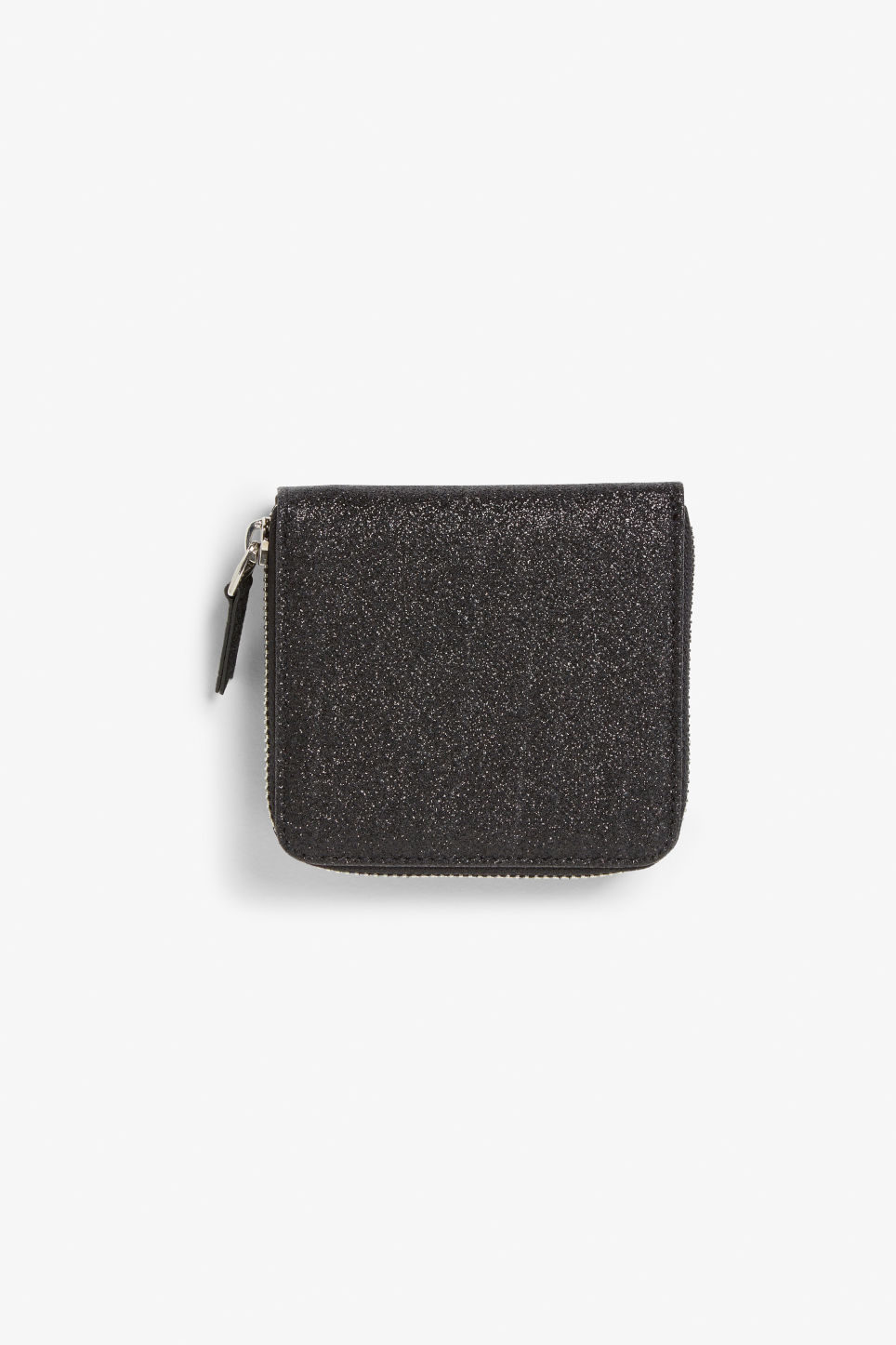 Front image of Monki coin purse wallet in black