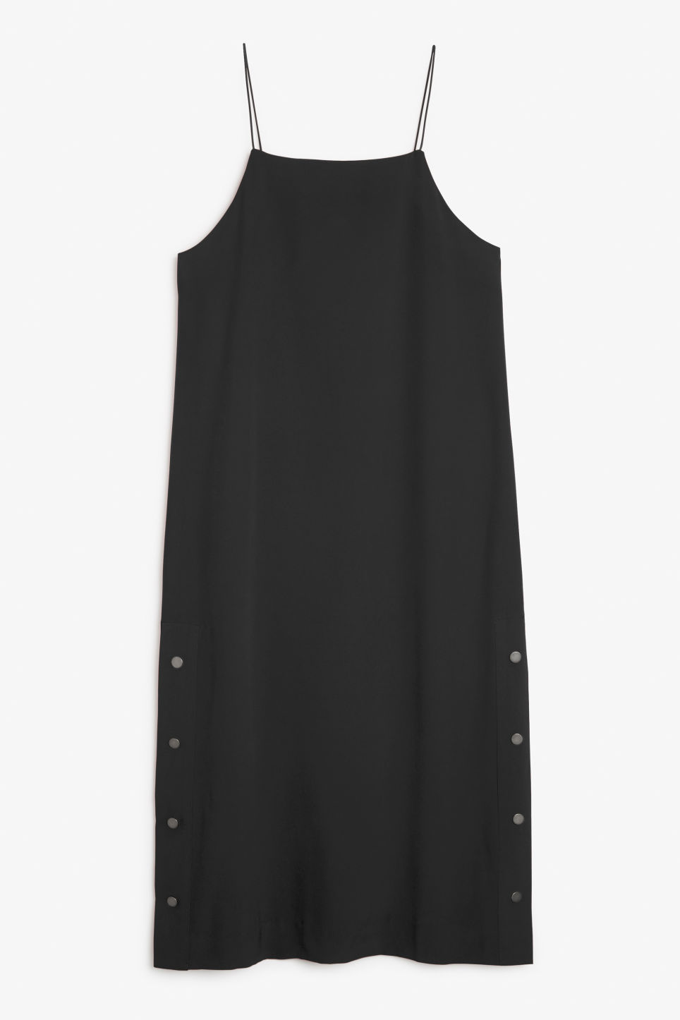 Front image of Monki long studded dress in black
