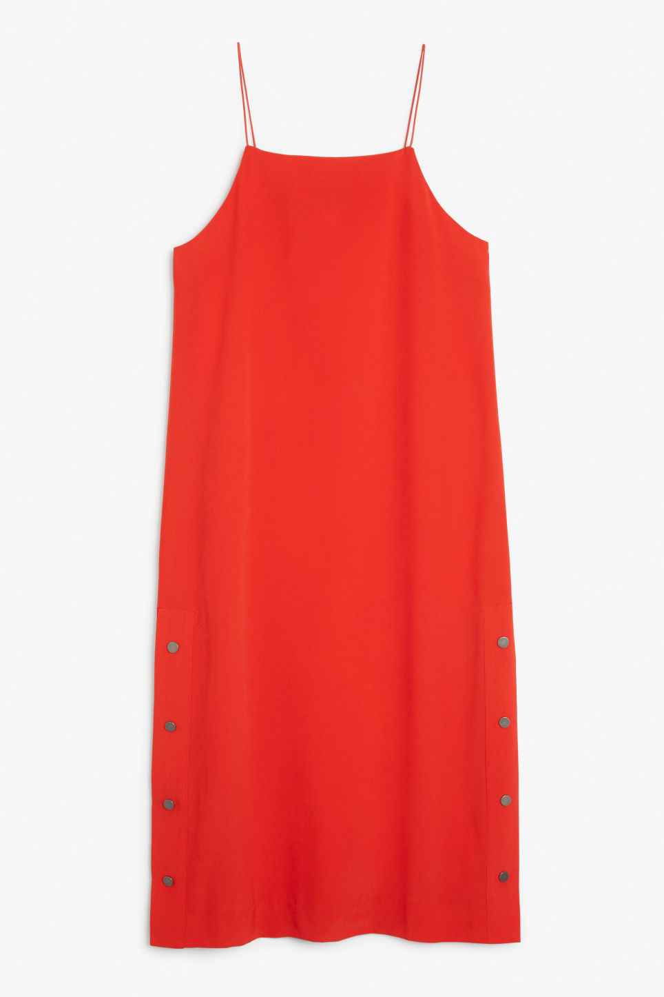 Front image of Monki long studded dress in red