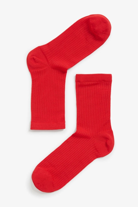 Front image of Monki sleek ribbed socks in red
