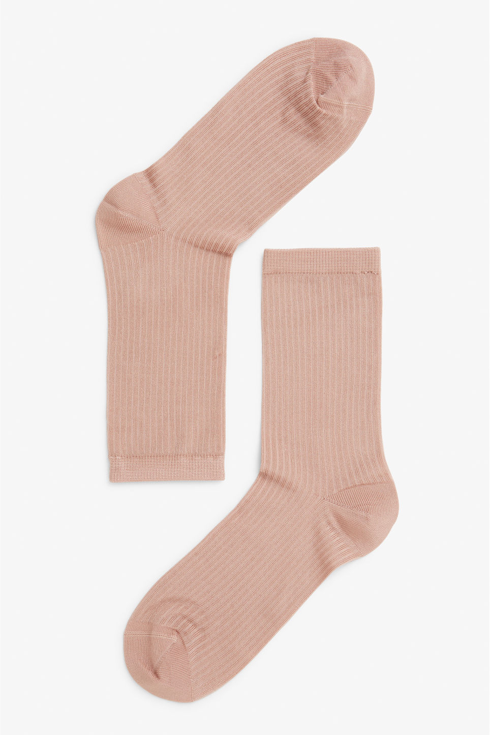 Front image of Monki sleek ribbed socks in pink