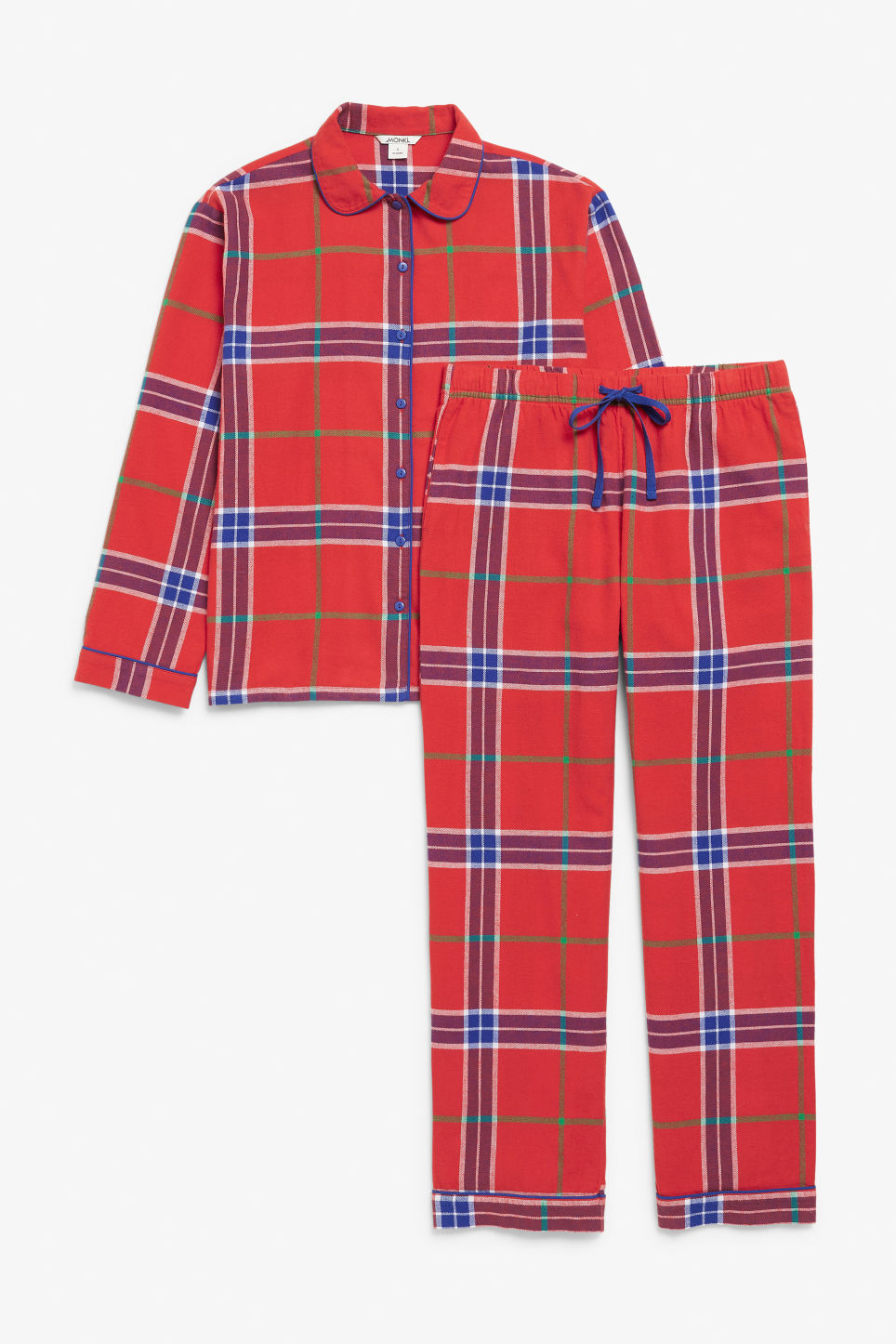 Front image of Monki pyjama set in red