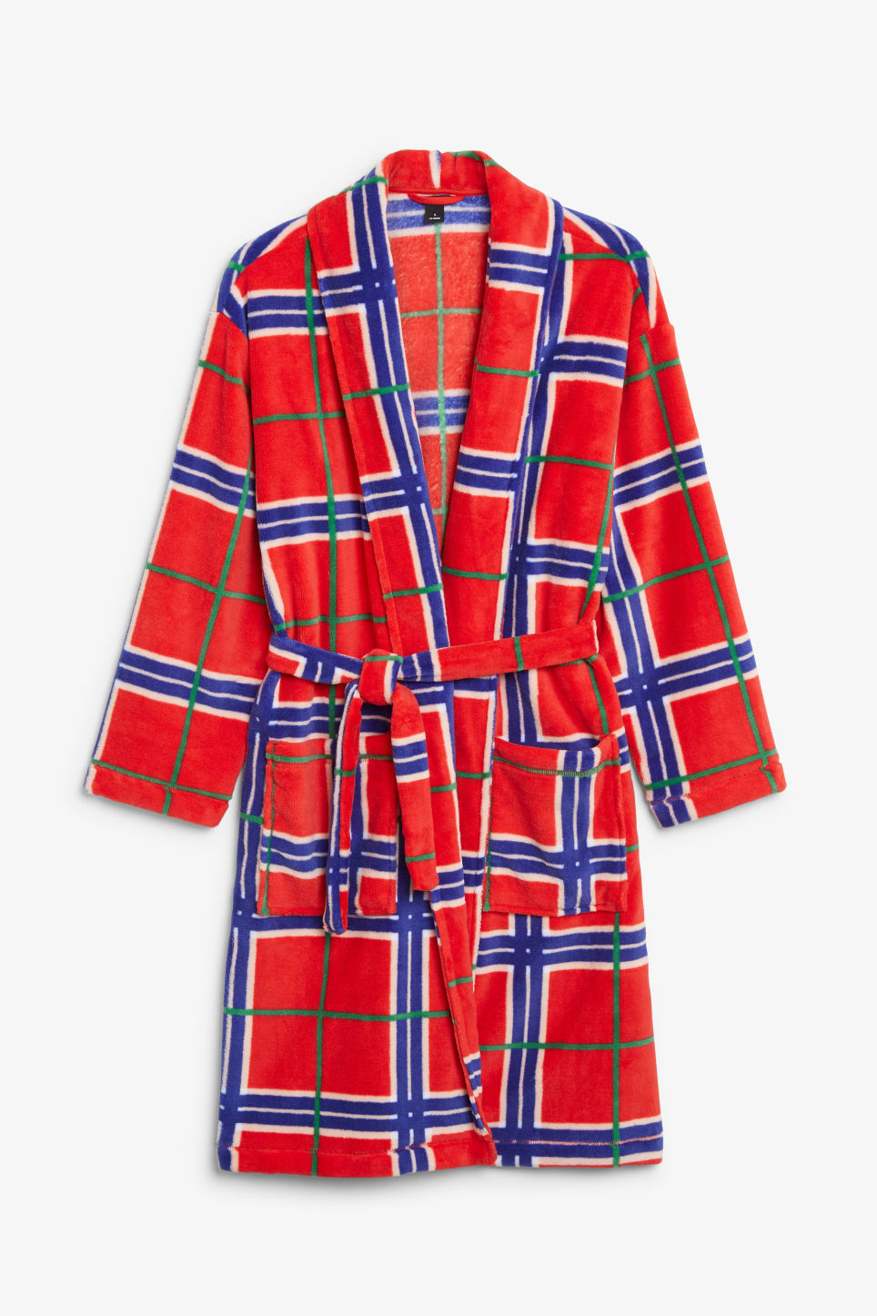 Front image of Monki printed fleece robe in red