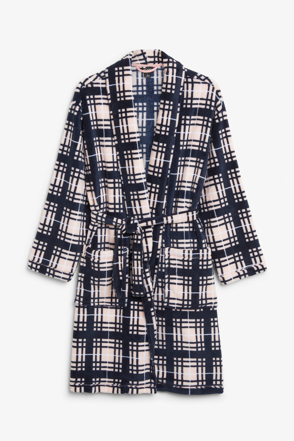 Front image of Monki printed fleece robe in blue