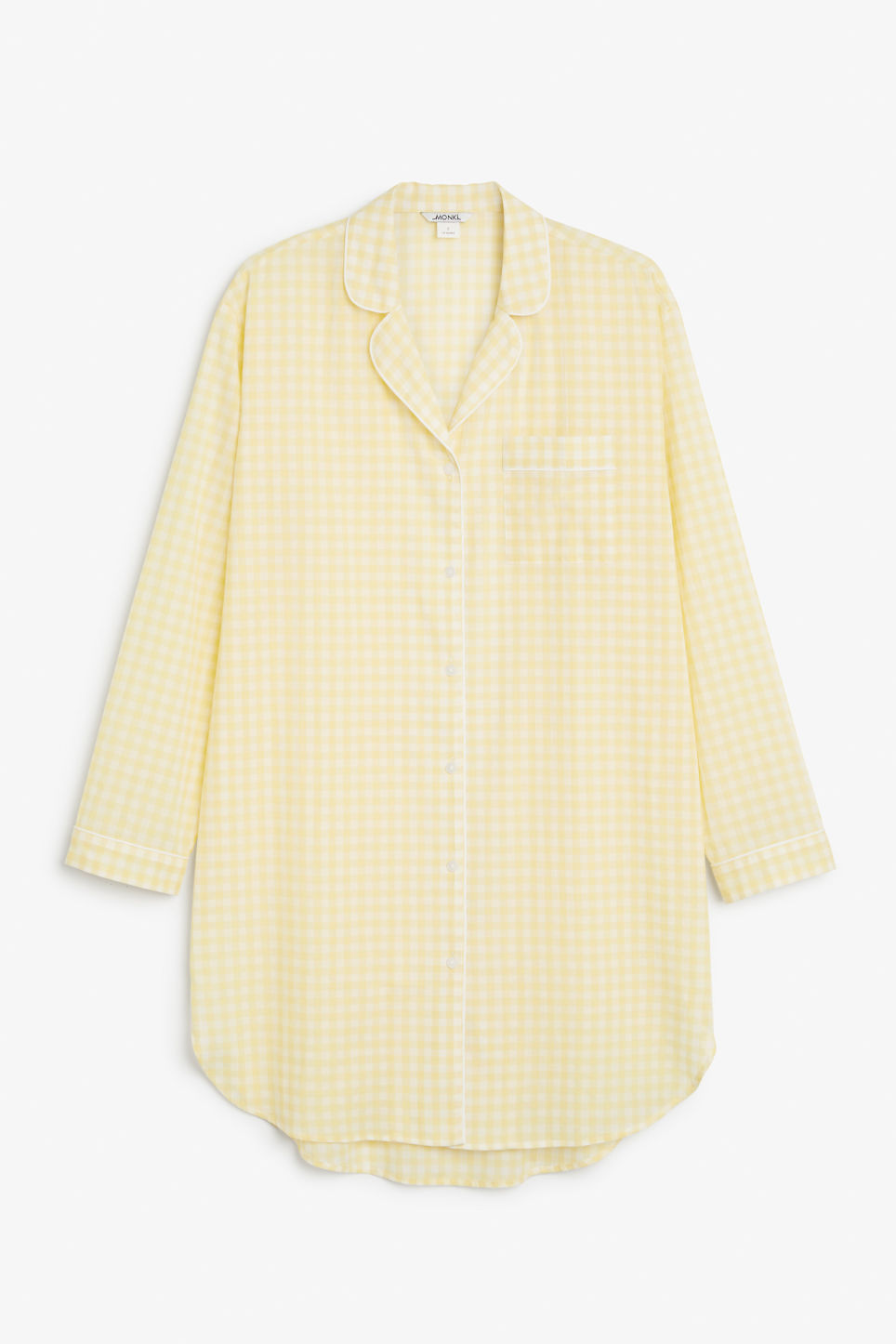 Front image of Monki checkered sleepshirt in yellow