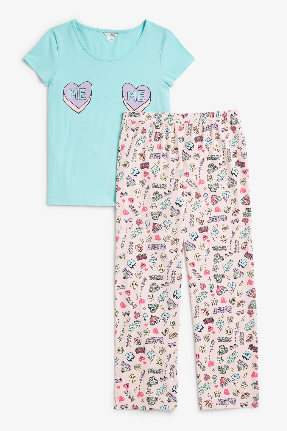 Front image of Monki matching pyjamas in turquoise