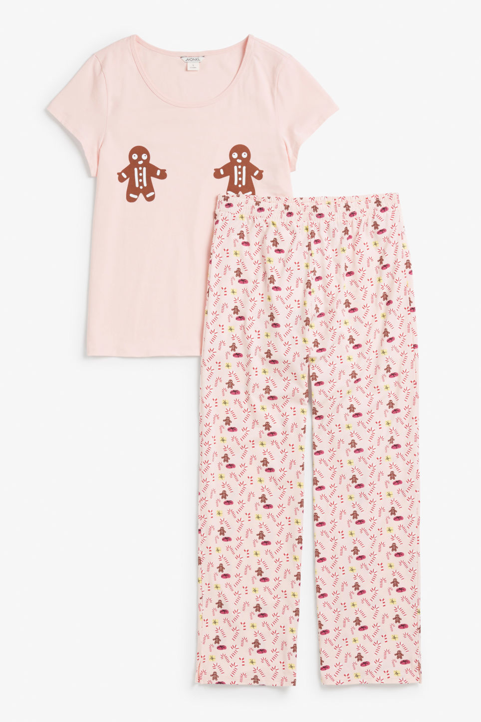 Front image of Monki matching pyjamas in pink
