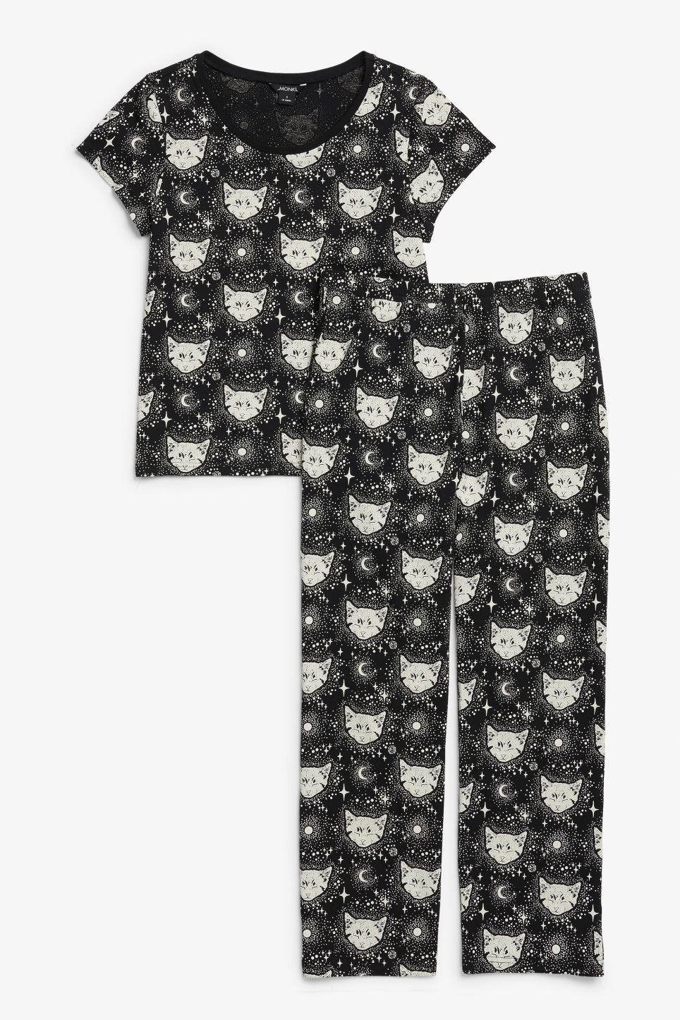 Front image of Monki matching pyjamas in black