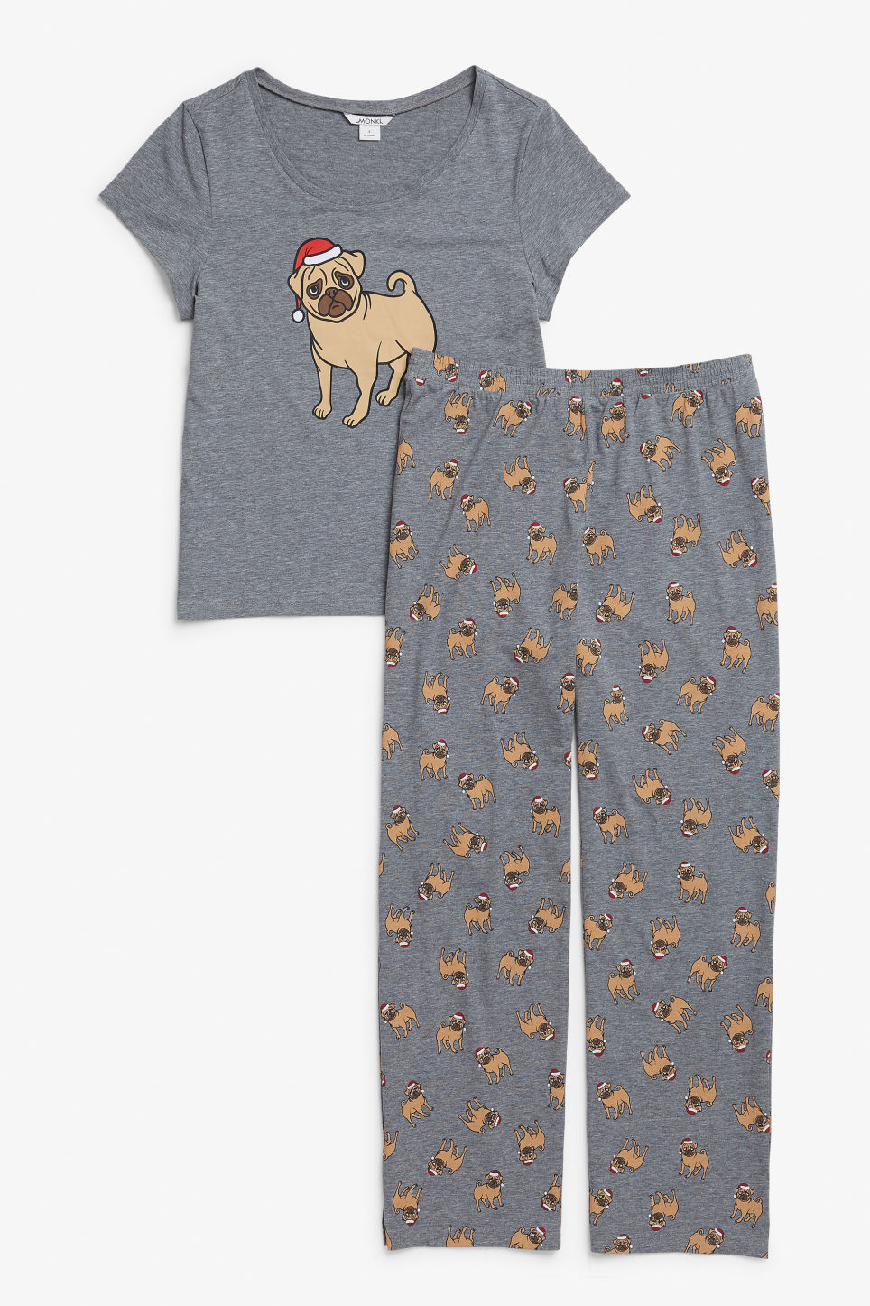 Front image of Monki matching pyjamas in grey