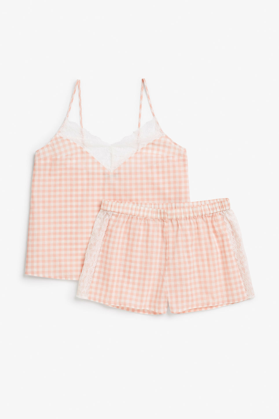 Front image of Monki checkered pyjama set in pink