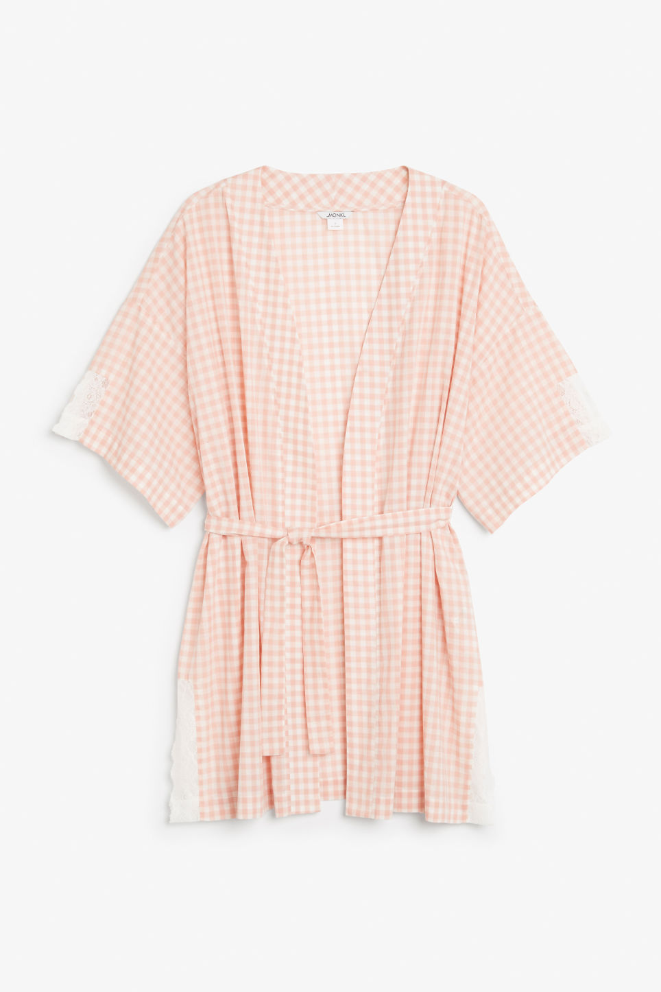 Front image of Monki checkered kimono in pink