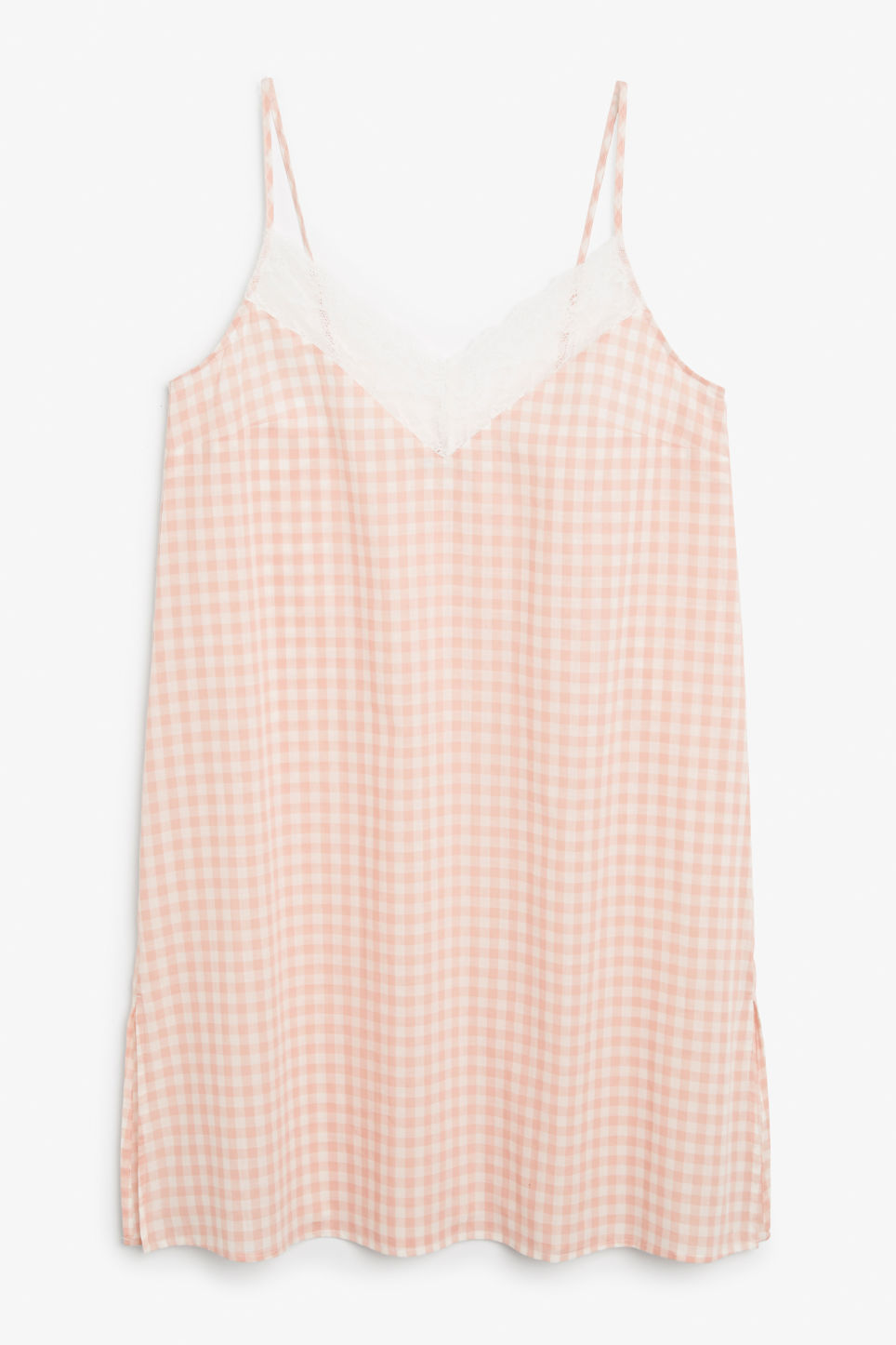 Front image of Monki checkered nighty slip in pink