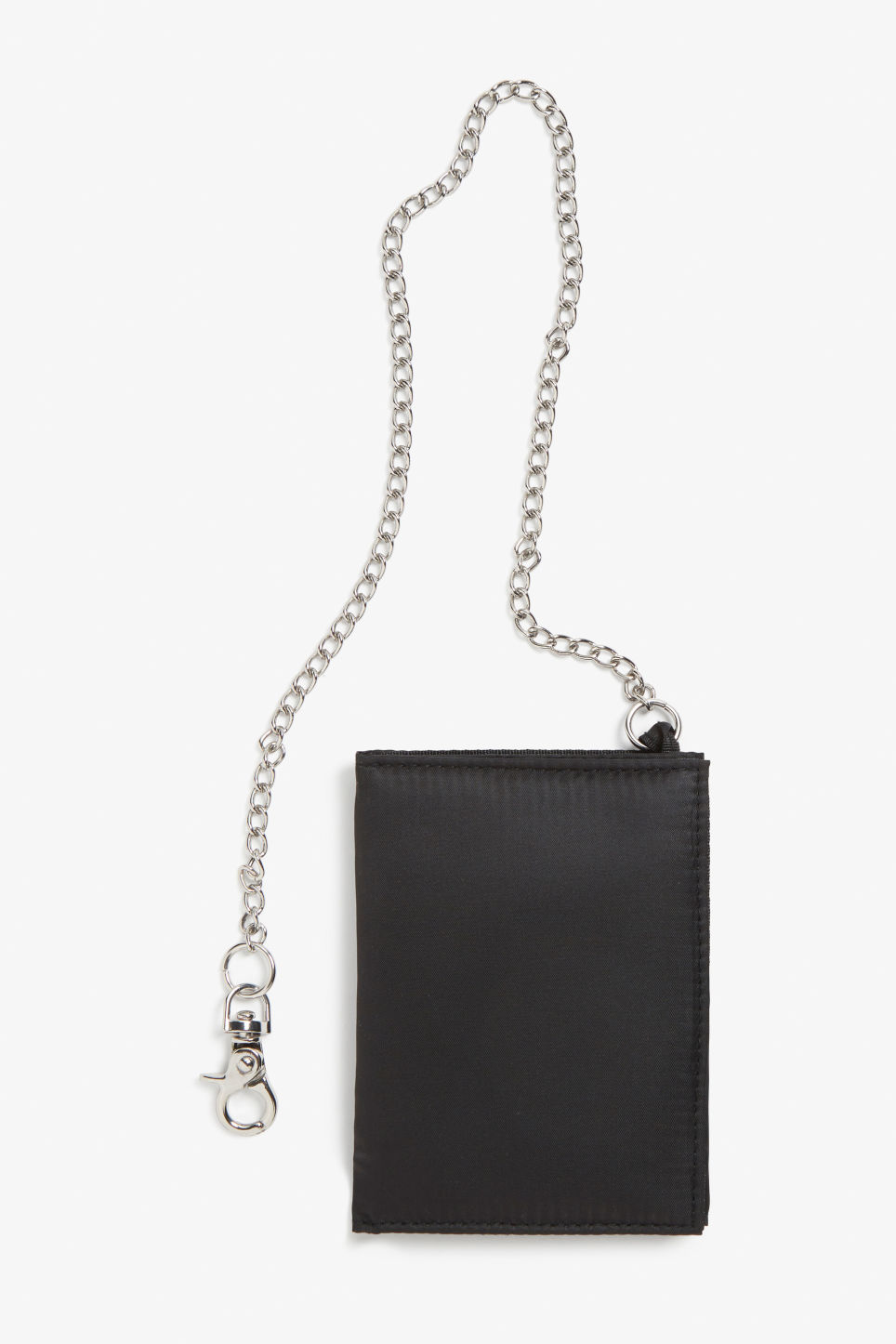 Front image of Monki wallet with chain in black