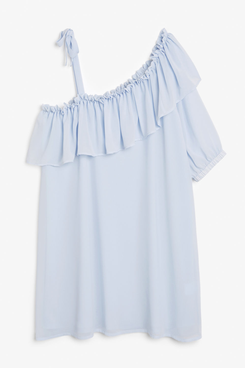 Front image of Monki asymmetric ruffle dress in blue
