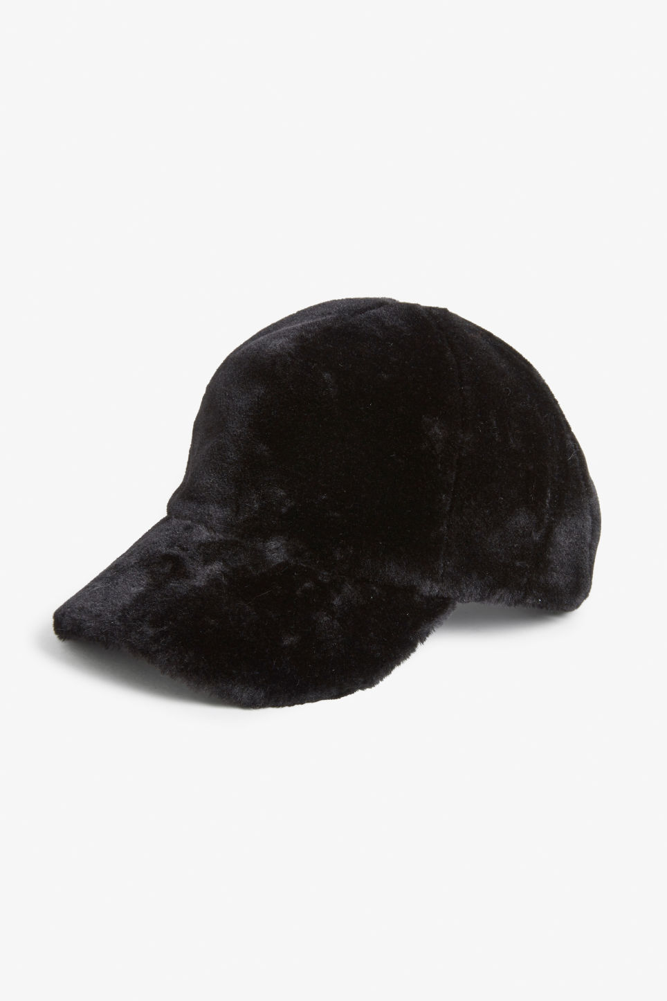 Front image of Monki faux fur baseball hat in black