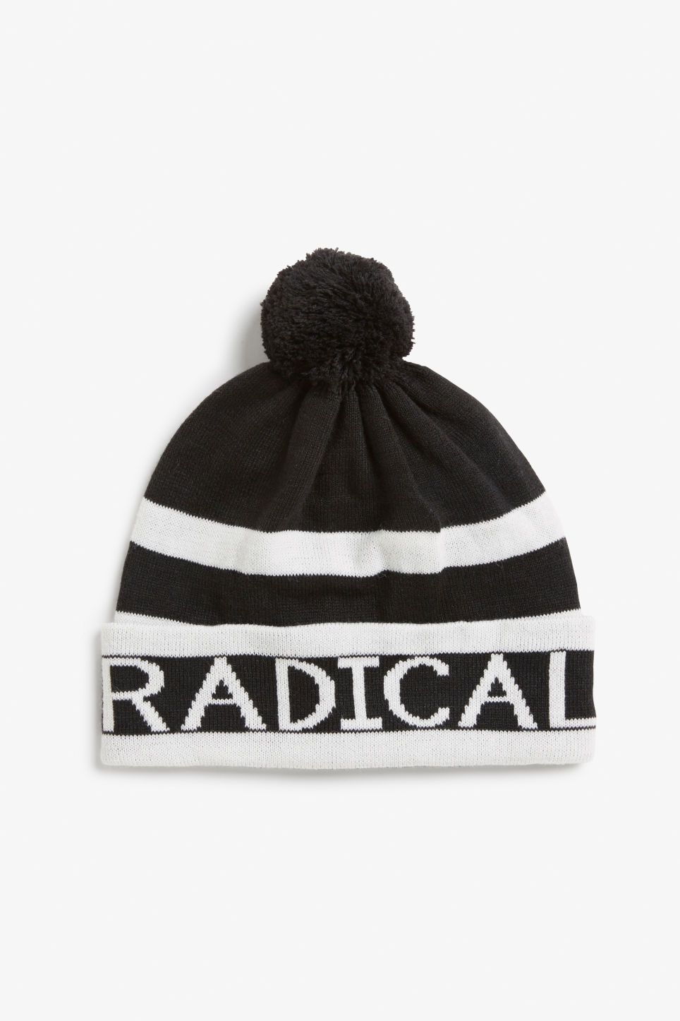 Front image of Monki pompom beanie in black