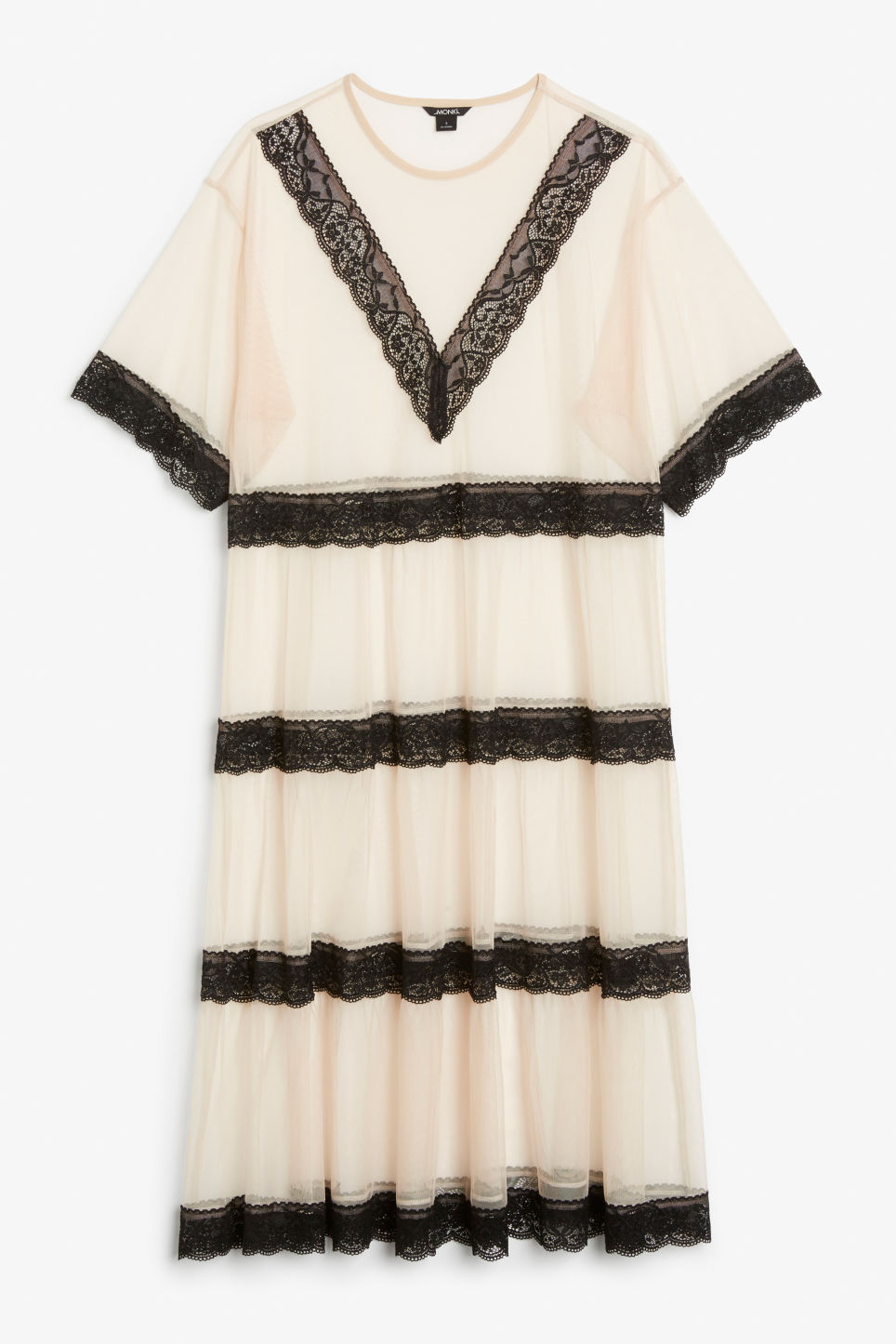 Front image of Monki long mesh and lace dress in black