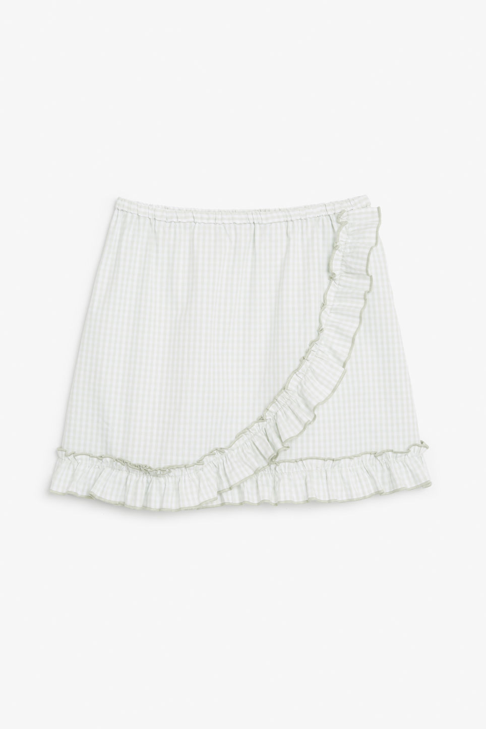 Front image of Monki ruffle wrap skirt in green